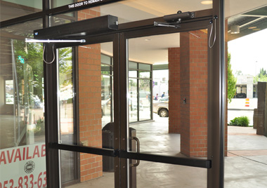 Record 8100 low energy swing door operator integrated with EL exit device and card access system & Automated Doors Pezcame.Com